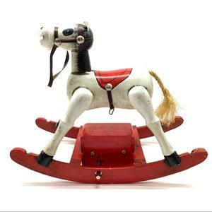 🔥 Vintage Wooden Hand Painted Rocking Horse 1979